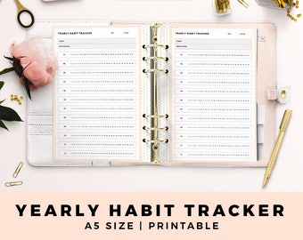 A5 Size Personal Planner Inserts, Yearly Habit Tracker, Blush and Gold Printable Planner Inserts, Productive Planner Pages