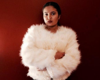 Cream 70's Style Faux Fur Jacket