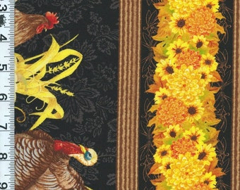 Fabric Wilmington Harvest Time Thanksgiving Turkey Rooster STRIPE 28075