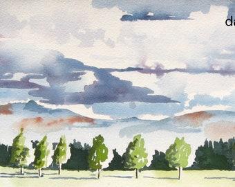 Oregon watercolor, Willamette Valley landscape, print from a handmade original