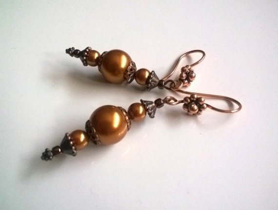 Long Dangle Earrings, Copper Pearl Earrings, Gold Tone Earrings, Copper Jewelry