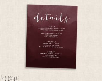 BURGUNDY - DIY Printable - Details Card - Single Sided -  Modern Watercolor Calligraphy Script - Add on to Wedding Set - Deep Red - Maroon