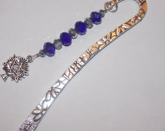 Blue Silver Tree of Life Star of David Tibetan Silver Bookmark
