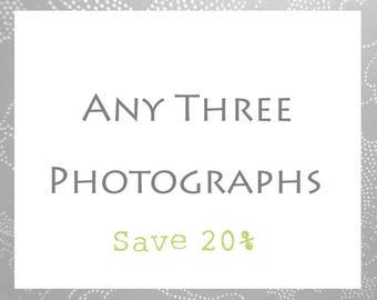 Set von drei Fotografie