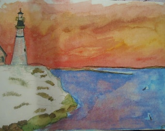 Watercolor printed postcard with Lighthouse at Dusk by Naomi Champlin.