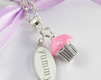 Cute n Kitsch Yummy Pink Iced Cupcake Charm Necklace Silver Plate 45cm