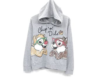 Chip n Dale hoodie full print logo chip and dale cartoon Sweatshirt streetwear / disney jumper pullover / cartoon fashion