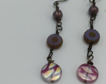 Light Purple Flower and Pink Czech Glass Dangle earrings \\ Boho Shoulder Duster Earrings \\ Spring Earrings