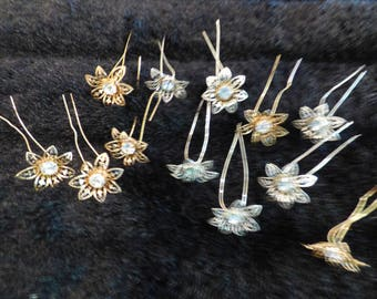 12 Hair Slides in silver and gold