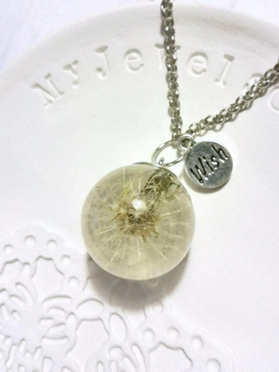 Dandelion necklace Wish necklace organic resin Terrarium pendant Pregnancy gift Real dandelion seeds silver necklace Bridal shower gift