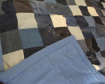 Recycled Jeans/Denim Patchwork Twin Size Quilt 72 X 76 inches all 6 inch squares