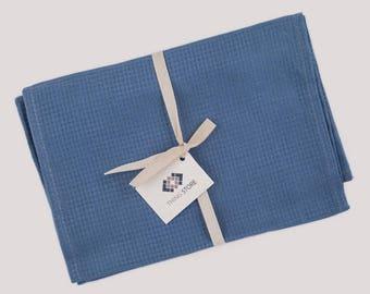 Blue Tea Towel Set of 2, Small Tea Towel, Kitchen Towels, Kitchen Linen Towel, Linen Tea Towels, Waffle Tea Towel, Waffle Kitchen Towel