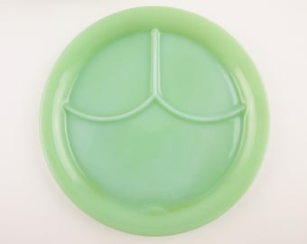 Jadeite Green 'Grill Plate w/Tab' - Fire-King Logo With Five Dots and a Dash - Multi-tasking Serving Plate - Three Slot Plate