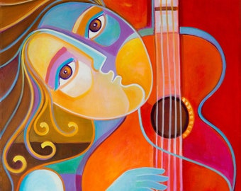 Original painting Girl Red Guitar Abstract Modern Artwork Marlina Vera Fine Art Gallery Cubism Picasso style Woman Guitarra portrait pop