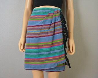80s Wrap Skirt Liz Claiborne Boho Fringe Skirt Guatemalan Inspired Skirt Epsteam
