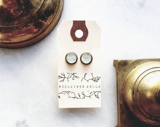 8mm crystal quartz druzy studs