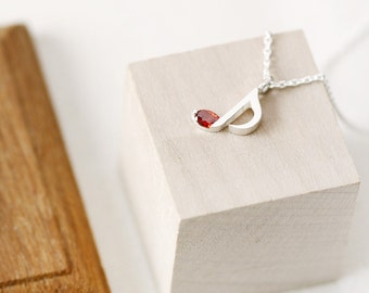 Garnet Music Note Necklace 925 Sterling Silver January Birthstone