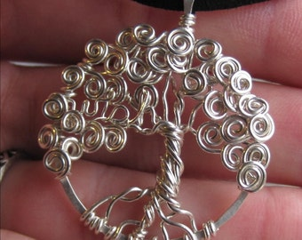Tree of life pendant - Made to order- sterling silver - whimsical - With your personalized word - your choice, mothers day gift