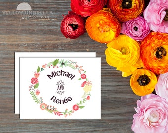 Floral Wreath with Couple Names - Set of 12