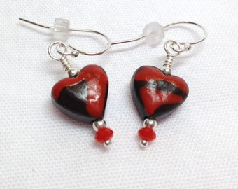 Red Swirled Chocolate Heart Earrings