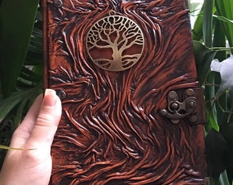 Tree of Life, L Size Real Leather Journal, Embossed Leather, Leather Notebook, Gift Idea
