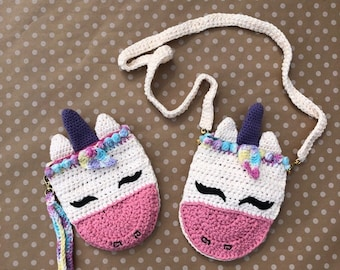 Unicorn, Bag, Wristlet, Shoulder bag, Crossbody, pouch, adult, child, toddler, teen, all ages, zipper, Crochet, Fabric lining, Cotton, pride