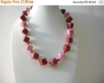 ON SALE Retro Cube Plastic Beads Gold Tone Metal Shorter Length Necklace 112116