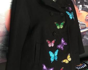 Custom Embroidered Butterflies Winter Coat Jacket