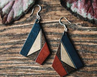 Cherry and Indigo Geometric Woodburned Pendant Earrings