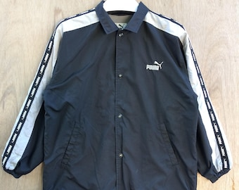 Vtg rare 90s Puma coach jacket windbreaker spell out stripe logos snap on button L size