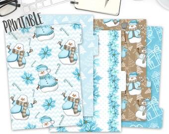 Printable Snowman Planner Dividers, Winter Dividers tabs, Winter Dividers, Set of 5 Dividers, A5 Size Planner Dividers, Filofax, Kikki K