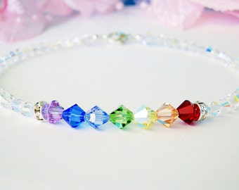 Swarovski Crystal Anklet, Chakra Rainbow Crystal Ankle Bracelet