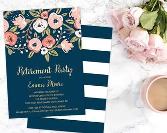 Floral Retirement Party Invitation, Retirement Invitation, Navy Retirement Invitation, Retirement Invite