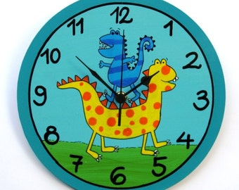 Dino The Dinosaur Wall Clock For Children's Room, nursery wall clock, kids wall clock