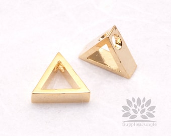 P551-02-G// Gold Plated 8mm Simple Triangle Pendant, 2 pcs