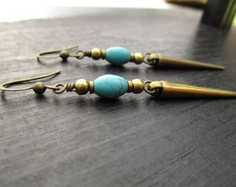 Antiqued Brass Spike and Turquoise Earrings