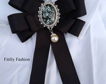 Beautiful New trend Ribbon Brooch/ Woman Brooch/ Bow Brooch/ Black brooch