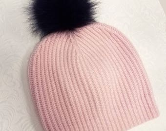 Cashmere Hat with Fox Fur Pom-Pom