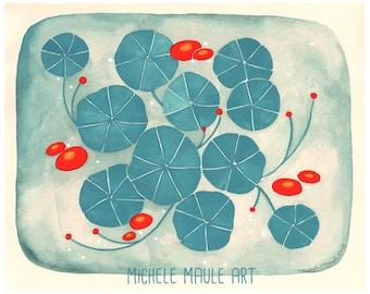 Nasturtium Art - Art Print - Floral Art Print - Floral Art - Garden Art - Print Art - Art for Gardener - Nasturtium