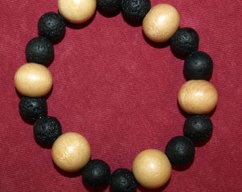 Lava stone Diffuser Stretch Bracelet with Natural Wood Beads