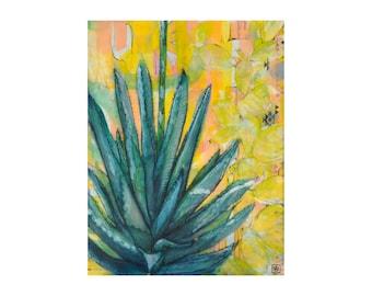 Agave de Agradecimiento, Agave Giclee, 8x10 Fine Art Print, Encaustic Print