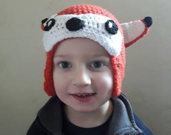 Crochet child's Fox hat.