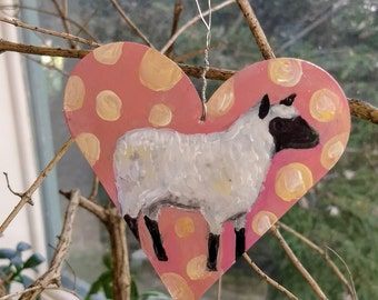 Painted Tin Animal Ornament: Sheep