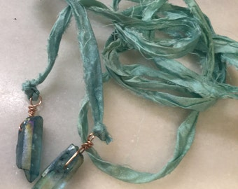 Mystic Azure Crystal Points  on Ocean Silk Sari Ribbon  Lariat Necklace  Boho Jewelry  Wrap Necklace    Bolo Tie