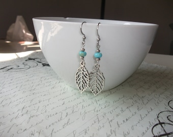 Silver leaf earrings with turquoise stones
