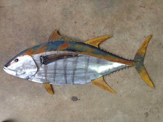 Yellow Fin Tuna Fish 36in Handmade Metal Wall Art Sculpture Tropical Beach Coastal