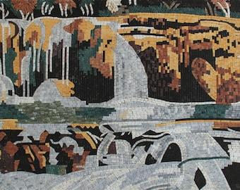 Horizontal Waterfall Landscape Nature Mural Marble Mosaic LS138