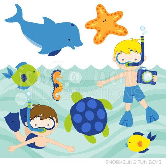snorkeling fun boys cute digital clipart commercial use clip art rh etsystudio com Summer Clip Art free summer fun clipart