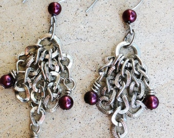 Chain Fringe Silver Dangle Earrings with Plum Purple Accents By Distinctly Daisy
