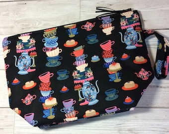 Zipped project bag - Mad Hatter's Tea Party